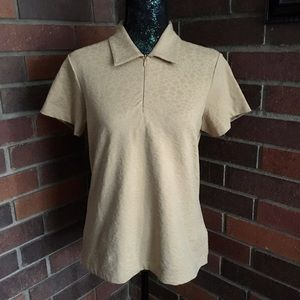 EP Pro Zip Front Polo / Tan Leopard